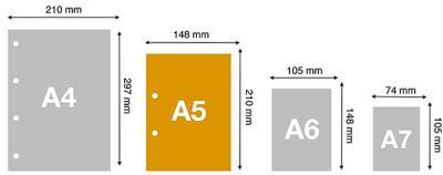 Cuaderno tamaño A5 medidas comparado con A4 y A6