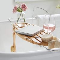 Estante de bambú para bañera