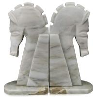 Sujetalibros ajedrez: figura caballo blanco de mármol