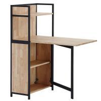 Mesa abatible de madera con estantería